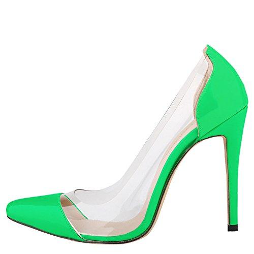 fereshte Women's Pointed Toe High Heel Mutil Color Shoes Neon Green jCGfmLOf