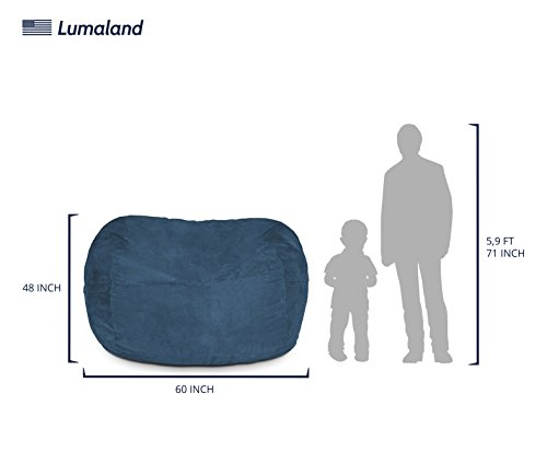 Lumaland Luxury 5-Foot Bean Bag Chair with Microsuede Cover Navy Blue, Machine Washable Big Size Sofa and Giant Lounger Furniture for Kids, Teens and Adults