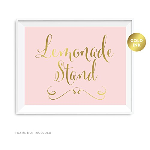 Andaz Press Wedding Party Signs, Blush Pink with Metallic Gold Ink, 8.5x11-inch, Lemonade Stand Reception Dessert Table Sign, 1-Pack, Unframed]()