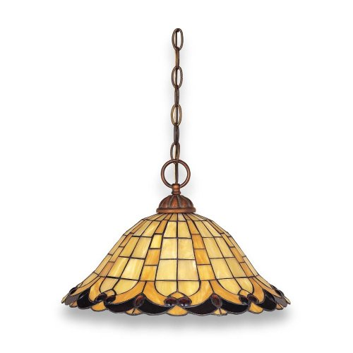 Globe Cameo One-Light Pendant, Bronze with Tiffany Glass #60288