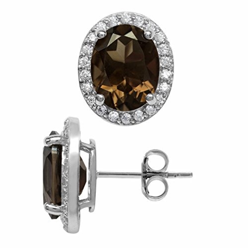 5.04ct. Natural Oval Shape Smoky Quartz White Gold Plated 925 Sterling Silver Halo Stud Earrings
