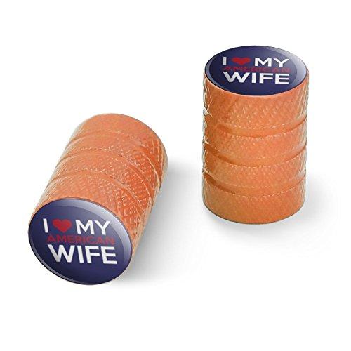 私は私のアメリカの妻を愛していますオートバイ自転車バイクタイヤリムホイールアルミバルブステムキャップ - オレンジ