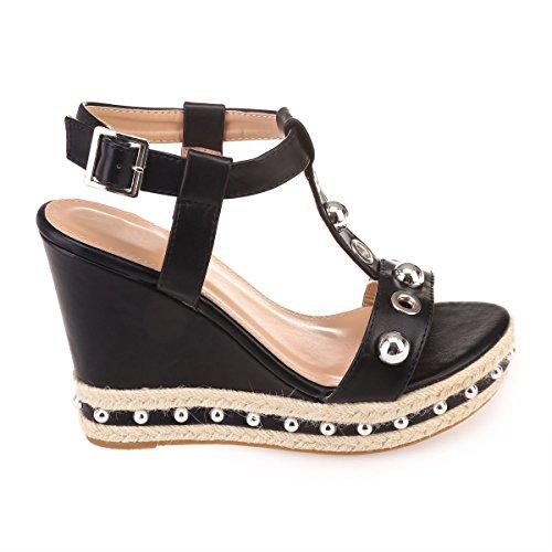 Sandales La La Modeuse Modeuse Noir compensées tq4Rv