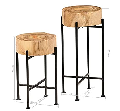 Vintage Industrial Side Table Small Round Furniture Metal Rustic End Retro Wood