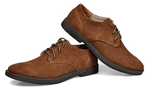 Fangsto Mens Fashion Daim Oxfords Chaussures Plates Lacets Marron