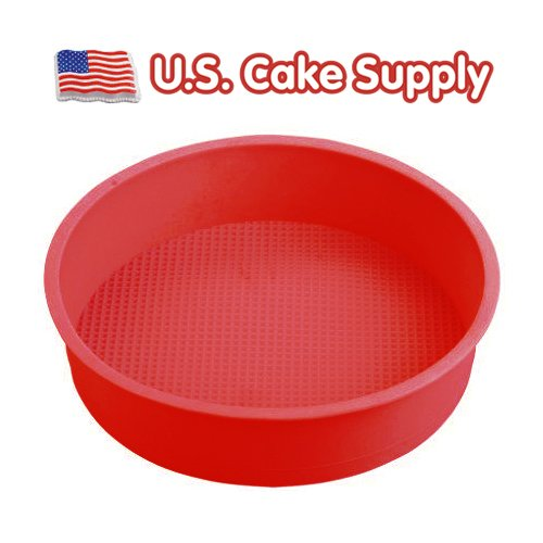 9 Round Silicone Cake Mold Pan (9 round x 2 1/4 deep - colors may vary) U.S. Cake Supply NA
