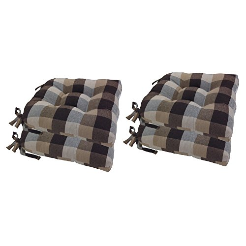 Arlee 16 x 16 in. Buffalo Check Woven Plaid Chair Pad - Set of 4 (Cushion 65 Pad X 65)