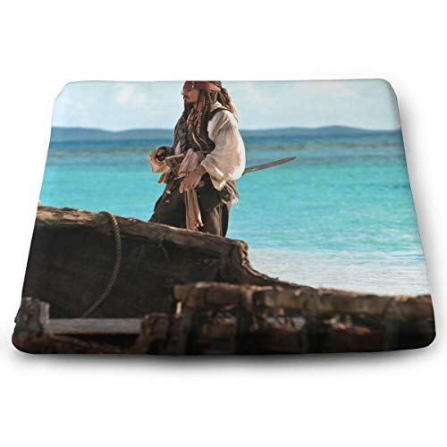 Jack Sparrow Pirates of The Caribbean On Stranger Tides Memory Foam Seat Square Cushion Fits Office Chair and Car Comfort Seat Cushion Home Decor Indoor/Outdoor Swing/Bench Cushion]()