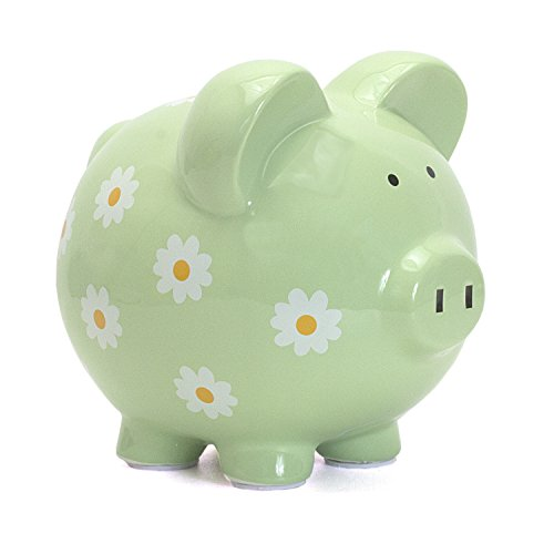 - Child to Cherish Large Daisy Pig Bank, Green