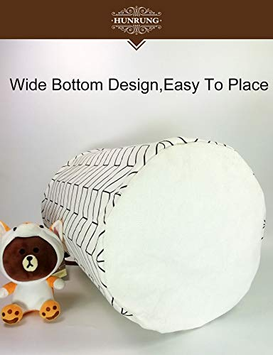 HUNRUNG Laundry Hamper,Large Canvas Fabric Lightweight Storage Basket Toy Organizer Dirty Clothes Collapsible Waterproof for College Dorms, Children Bedroom,Bathroom (White)