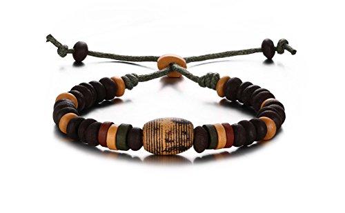 Vnox les femmes en céramique réglable de perles strand corde bracelet bracelet avec arête de charme
