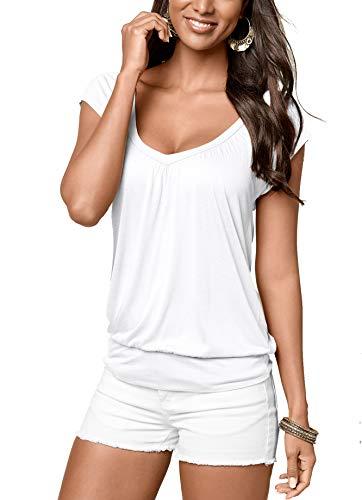 Uniquestyle Damen Sommer T-Shirt Kurzarmshirt V-Ausschnitt Lässige Stretch Falten Bluse Tops Oberteil Baumwollshirt Blickdicht