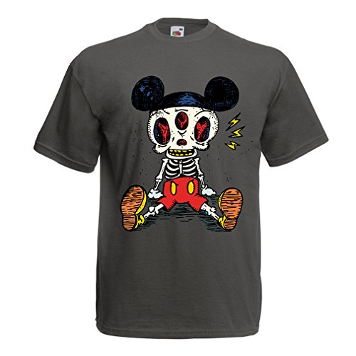 T Shirts for Men Mouse Skeleton Halloween Party Outfits Trick or Treat Death Skull Design (Small Graphite Multi Color) ()
