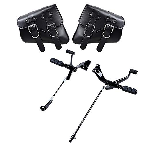 Set Black Forward Controls Pegs Levers Linkages and Left Right PU Leather Solo Swing Arm Saddlebag Compatible with 2014-2018 Harley Sportster XL883 XL1200 Motorcycle