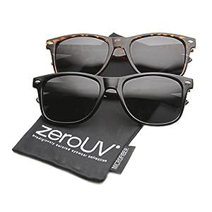zeroUV - Classic Eyewear 80's Retro Large Horn Rimmed Style Sunglasses ((2-Pack Polarized (Blk + TT))