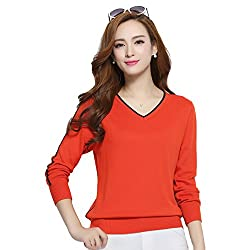 Panreddy Women S Cashmere Blended Knitted Pullovers Long Sleeve V Neck Sweater Orange Red L
