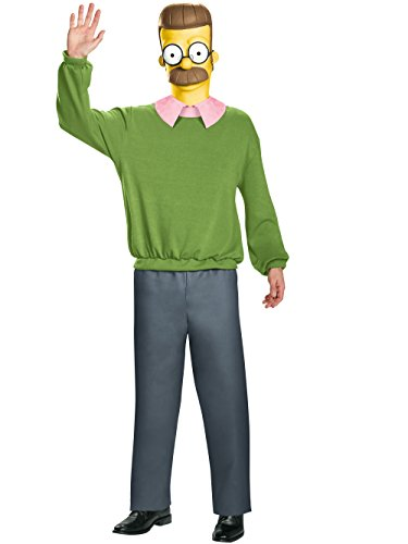 Disguise Men's Ned Flanders Deluxe Adult Costume, Multi, X-Large -
