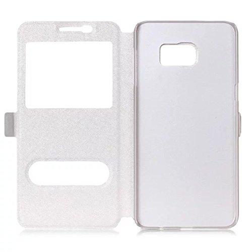 SRY Cuero de la PU del color sólido con el soporte / la caja protectora del patrón de seda de la ventana abierta doble para el borde del Samsung Galaxy S7 ( Color : Gold ) White