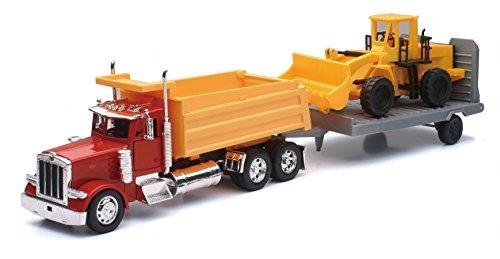 (PETERBILT Model 379 Dump Truck with Wheel Loader and Trai.er NEWRAY Diecast 1:32)