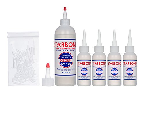 Starbond EM-150 Medium, Premium CA - Super Glue Kit with Extra Bottles, Caps, and Microtips, 16 oz. (Bulk Size) (for Woodturning, Pen Turning, Hobby, Lapidary, Acrylic Nails)
