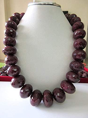 Gems World Beautiful Jewelry 22mm to 30mm Huge Rare Natural Ruby Faceted Rondelle Beads, One of A Kind, 20 Inch Strand Code-COM-4679