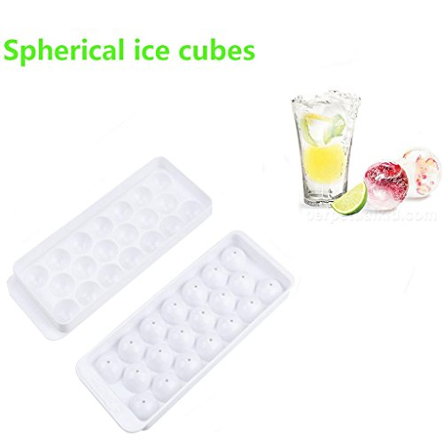 Vibola 20 Large Molds Whiskey Cocktail Ice Cube Tray Round Spherical Ice Ball Maker Mold Silicone Ice Ball Maker Large Ice Cube Molds - Box Cocktails Ice