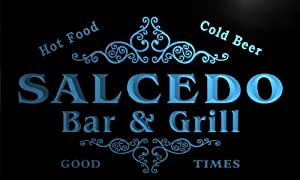u39010-b SALCEDO Family Name Bar & Grill Home Brew Beer Neon Sign