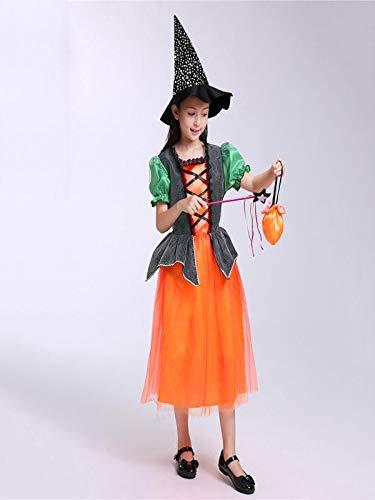 cappello Strega BYSTE Costume Arancia amp; Bambino scialle Bambina Robe femminile di Costume magico Mago Forma Vestito Halloween zucca Wizard xxzTnwH