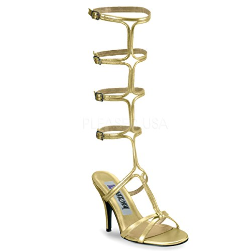 Funtasma by Pleaser Women's Roman-10 Sandal,Gold Pu,7 M -