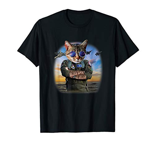 Funny Cat F22 Raptor Fighter Jet Aviator Air force gift T-Shirt