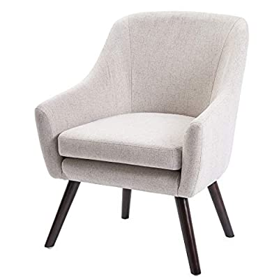 Harper&Bright Designs Stylish Fabric Accent Chair Upholstered Armchair with Wood Legs (Beige) - Designed with a smooth profile, the accent chair features a refined appearance and sturdy construction The bonus plush cushion and the armrests provide extra sitting comfort Sturdy wood frame with high quality wood legs for great stability and longevity - living-room-furniture, living-room, accent-chairs - 41C4Jctrd6L. SS400  -