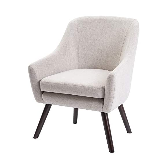 Harper&Bright Designs Stylish Fabric Accent Chair Upholstered Armchair with Wood Legs (Beige) - Designed with a smooth profile, the accent chair features a refined appearance and sturdy construction The bonus plush cushion and the armrests provide extra sitting comfort Sturdy wood frame with high quality wood legs for great stability and longevity - living-room-furniture, living-room, accent-chairs - 41C4Jctrd6L. SS570  -