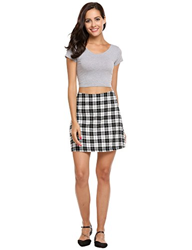 Check Mini Skirt (Acevog Women's Summer Cotton Light Weight Check Print A-Line Mini Skirt (Black, S))