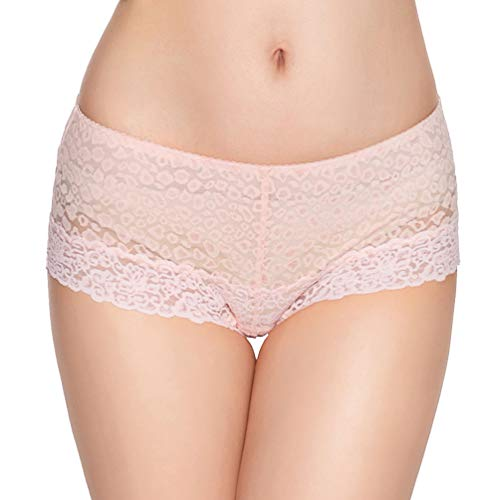 (Eve's temptation Women Lily Everyday Mid-Waist Panties Lace Slimming Tummy Control Underwear Full Coverage Boyshorts-Pink Small)