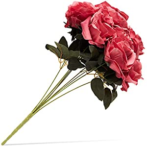 Juvale Artificial Flowers Silk Rose Bouquet with Stems for Wedding Decor and Crafts, Dark Pink, 10 Heads 20