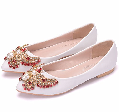 Honor Flat De Flower On White Ladies Zapatos Novia Ager Ballet 01G Dama Slip Bow Pumps Womens EU43 Rhinestones Ele Satin De qxfqv6