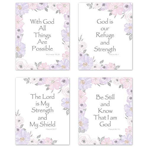 KB & Me Bible Verse Wall Art Inspirational Quotes Religious Christian Scripture Sayings Psalm Home Decor Prints - Set of 4 Lavendar Purple and Grey Floral 8 x 10 inches