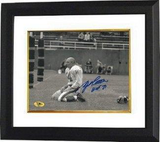 Y.A. Tittle Autographed Picture - YA Blood Sepia Horizontal 8X10 HOF 71 Custom Framed - Autographed NFL Photos Washington Redskins Coin Set