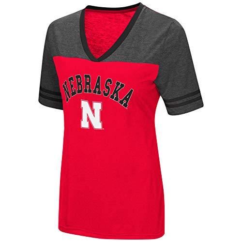 Colosseum Women's NCAA Varsity Jersey V-Neck T-Shirt-Nebraska Cornhuskers-Scarlet-XL