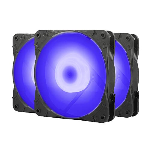 Sahara SR-02 PC Case Fans 120mm Blue LED PC Fan,High Airflow Quiet,Molex Connector,SR Series 3 Packs for Computer Cases