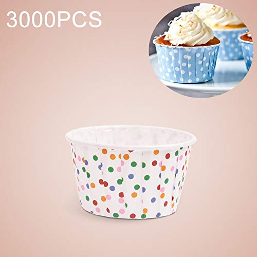 Food Molds 3000 PCS Colorful Dots Pattern Round Lamination Cake Cup Muffin Cases Chocolate Cupcake Liner Baking Cup, Size: 5.8 x 4.4 x 3.5cm Household Food by FANYAO