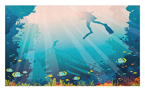 Ambesonne Sea Life Doormat, Silhouette of a Scuba Diver Sunken Ship and Coral Reef, Decorative Polyester Floor Mat with Non-Skid Backing, 30 W X 18 L Inches, Pale Slate Blue - Diver Silhouette