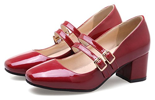 Aisun Womens Vintage Burnished Low Cut Square Toe Dressy Block Mid Heel Ankle Strap Pumps Shoes Wine Red kV187H