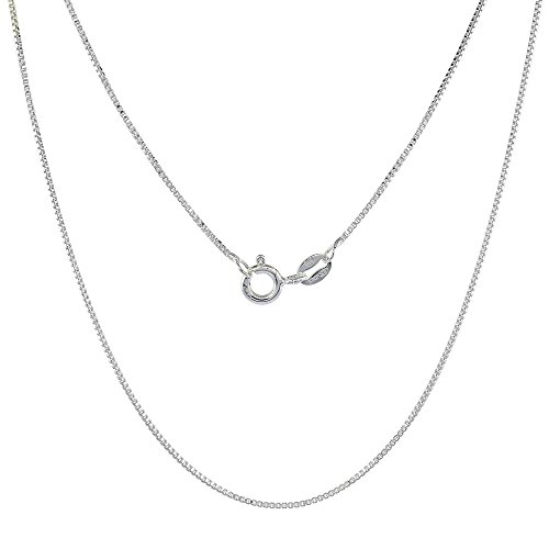Sterling Silver Box Chain Necklace 0.8mm Very Thin Nickel Free Italy, 20 inch ()