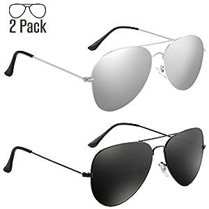 Livhò Aviator Sunglasses Polarized for Men Women Metal Frame UV 400 Protection Outdoor(2 Pack)