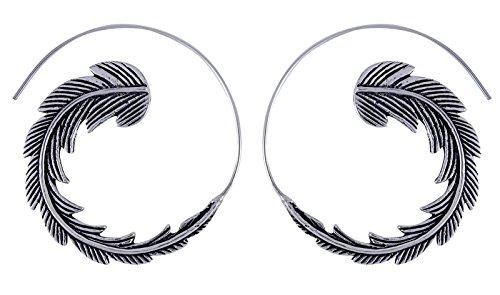 Banithani Women Tribal Feather Design Dangle Hoop Earring Set Indian Ethnic Jewelry from Banithani