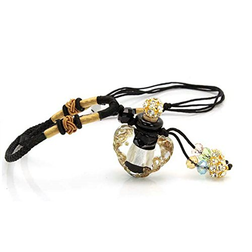 Joyci Handmade Glazed Glase Aromatherapy Necklace Essential Oil Diffuser Pendant with Origin Cork Cover (Black)