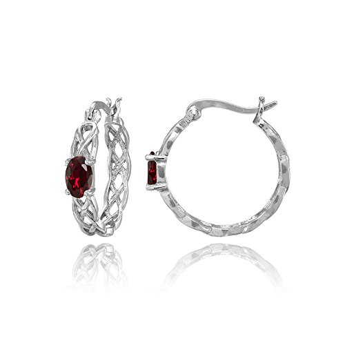 Celtic Ruby - Sterling Silver Created Ruby Celtic Knot Round Hoop Earrings