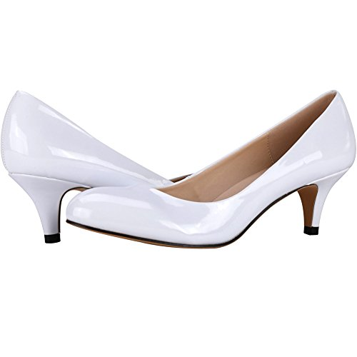 Zbeibei Pumps Slender Women's 3321 Work Neon Toe Court Leather Round Heels Mid White rFrwRzq1x