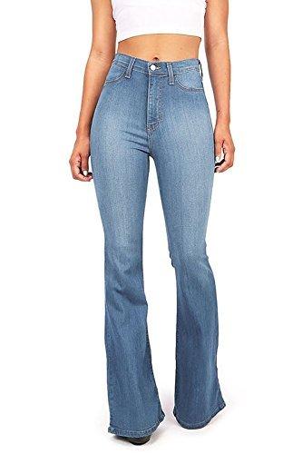 Vibrant Women's Juniors Bell Bottom High Waist Fitted Denim Jeans,Denim,XX-Large